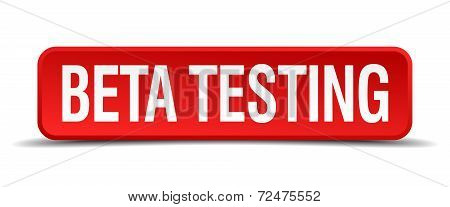 Beta Testing Red Three-dimensional Square Button Isolated On White Background