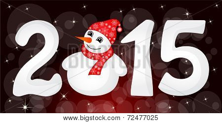 Happy New Year 2015 From Snow With Snowman And Santa Hat