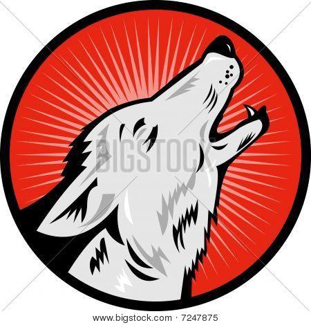lobo uivando vista lateral