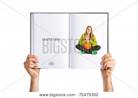 Pretty Young Girl With Basket Ball Printed On Book