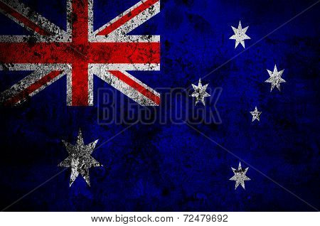 Grunge Flag Of Australia With Capital In Canberra