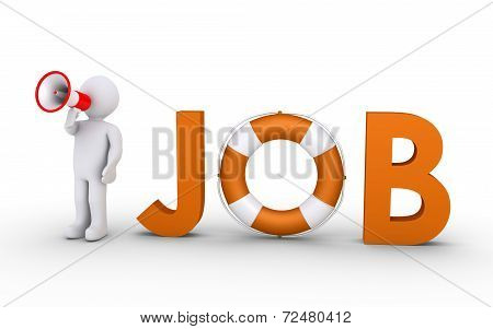 Job Word With Lifebelt And Person With Megaphone