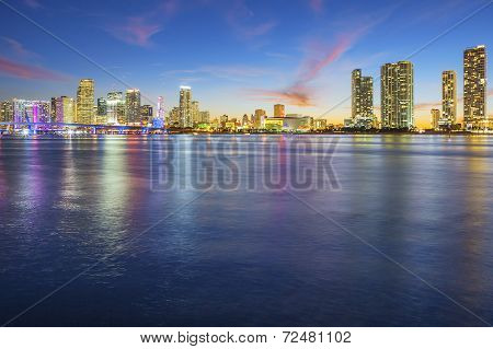 View Of Miami At Sunset