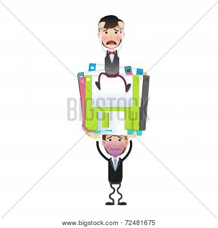 Businessman With Diskette Over White Background. Vector Design.