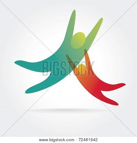 Abstract vector people icons isolated on white background