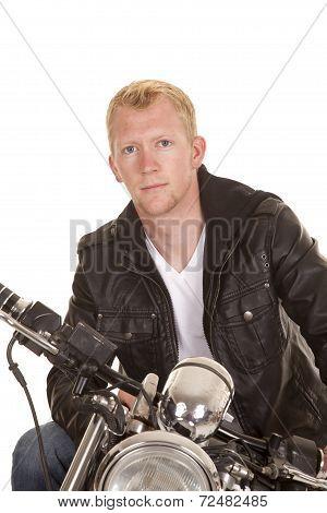 Man On Motorcycle Black Jacket Looking Close
