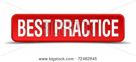 Best Practice Red Three-dimensional Square Button Isolated On White Background