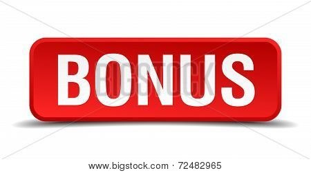Bonus Red Three-dimensional Square Button Isolated On White Background