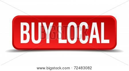 Buy Local Red Three-dimensional Square Button Isolated On White Background