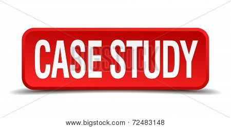 Case Study Red Three-dimensional Square Button Isolated On White Background