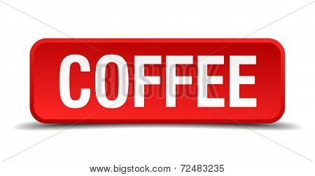 Coffee Red Three-dimensional Square Button Isolated On White Background