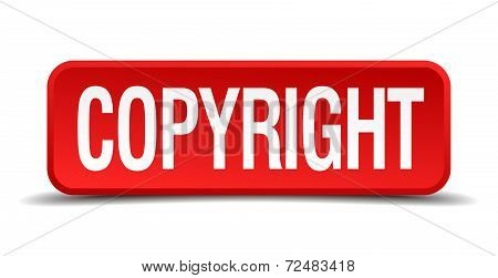 Copyright Red Three-dimensional Square Button Isolated On White Background