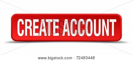 Create Account Red Three-dimensional Square Button Isolated On White Background
