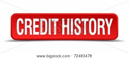 Credit History Red Three-dimensional Square Button Isolated On White Background