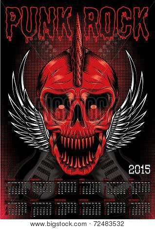 Poster With Red Skull And Calendar For Punk Rock