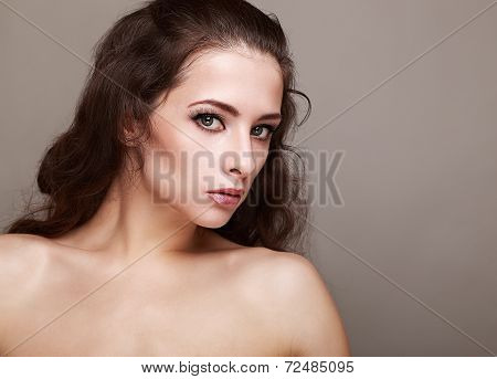 Beautiful Makeup Woman With Long Lashes And Curly Hair