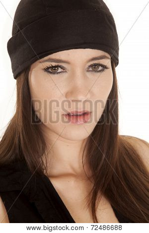 Woman Black Top And Black Hat Very Serious
