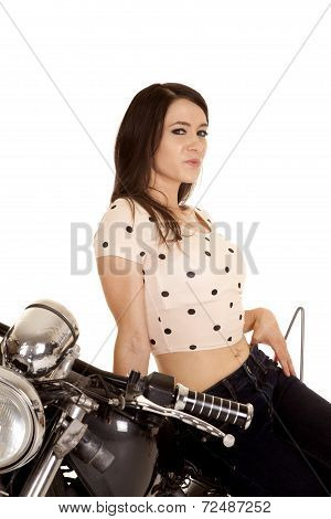Woman Smirking Sitting On A Motorcycle