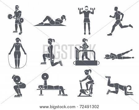 Gym Sport Exercises Icons