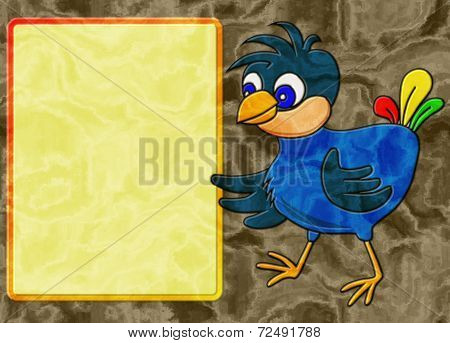 Bird Relief Painting On Generated Marble Texture Background