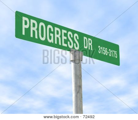 Progress Theme Street Sign