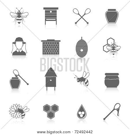 Bee honey icons black set
