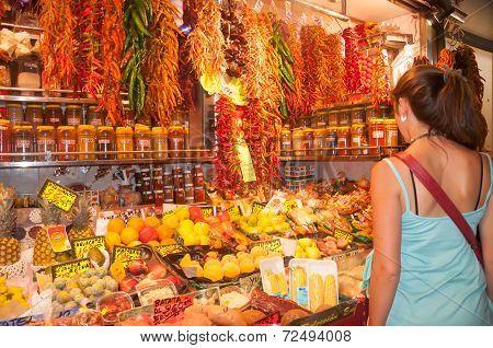 Customer At Fruit Market Stall