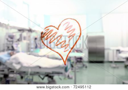 Heart Shape In The Background Of A Hospital Ward