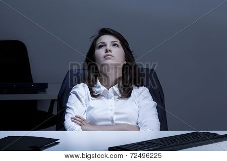 Thoughtful Businesswoman In The Office