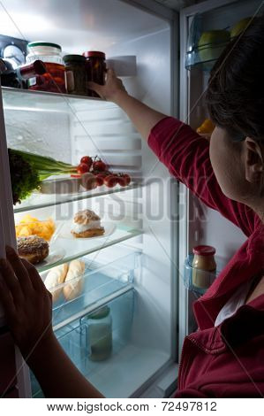 Hungry Woman Choosing Food