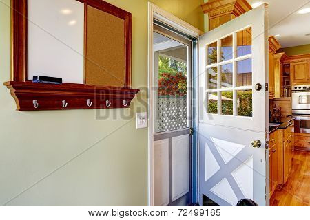 Double Door In The Kitchen Room With Exit To Backyard