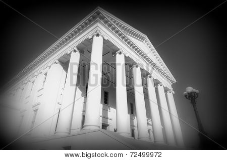 Virginia state capitol building in black and white