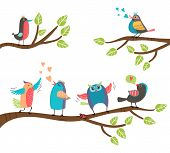 foto of owls  - Set of cute colorful cartoon birds perched on branches with a blackbird  lovebird  owl  thrush  robin singing and tweeting with two involved in a courtship display - JPG