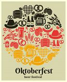 pic of keg  - Oktoberfest Beer Festival label in the German national colors in a round design with German beer in bottles  can  tankard  glass  keg or cask  barrel  hops  barley  sausage  pretzel and a heart - JPG