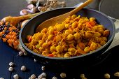 picture of chickpea  - chicken with chickpea and spices cooked indian style - JPG