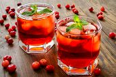 picture of mint-green  - Hold cranberry cocktail with ice and mint - JPG