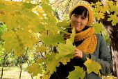 picture of beret  - Portrait of a young woman in a beret and scarf of yellow maple leaves - JPG