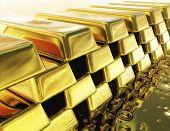pic of safe haven  - Digital 3D Illustration of a Stack of Gold Bullions - JPG