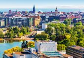 foto of landscape architecture  - Scenic summer aerial panorama of the Old Town architecture in Helsinki - JPG