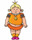 stock photo of obesity children  - Children vector illustration of little fat girl or princess in mediaval dress - JPG