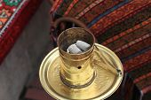 picture of hookah  - The hookah coals in a turkish cafe - JPG