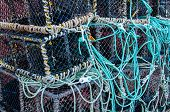 foto of lobster boat  - Closeup on Lobster pots on the dock England