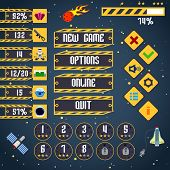 image of arcade  - Space arcade adventure game menu interface layout template vector illustration - JPG