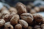 picture of walnut  - Pile of walnuts - JPG