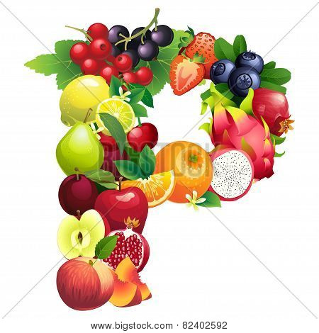 Letter P composed of different fruits with leaves