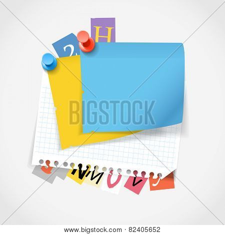 Blank paper stickers and color paper letters. Template for a text