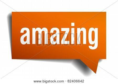 Amazing Orange Speech Bubble Isolated On White
