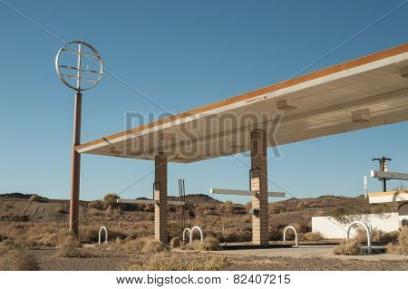 abandoned desert gas station