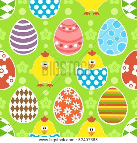 Easter seamless background with eggs and chicks