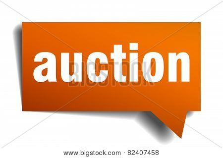 Auction Orange Speech Bubble Isolated On White
